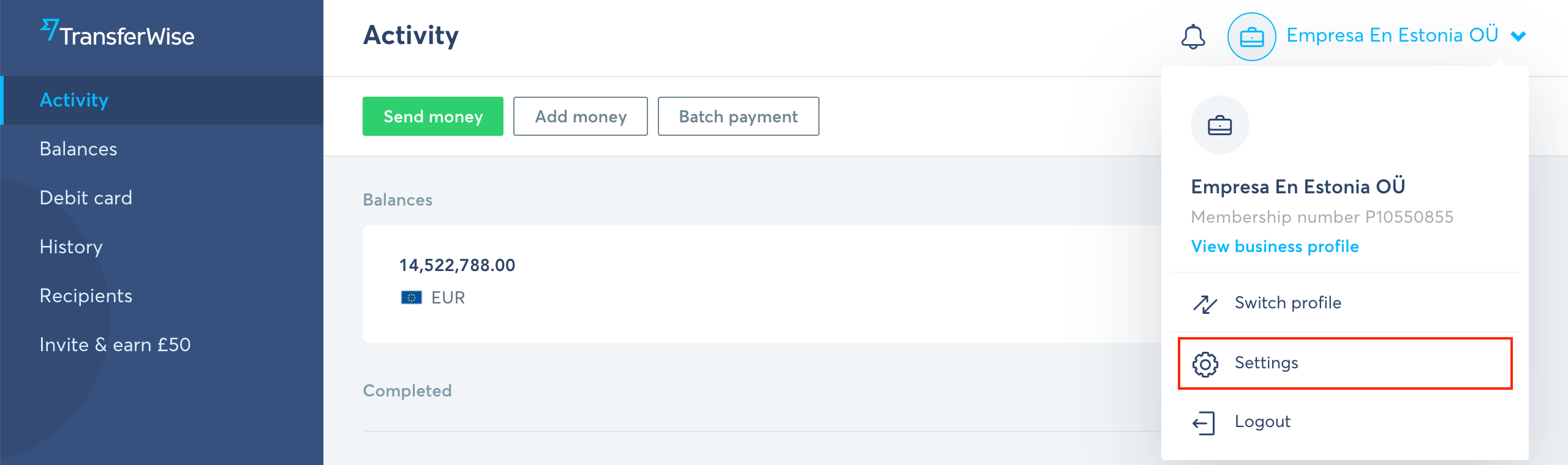 How do I link the Transferwise bank account of my company?